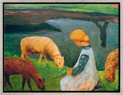 """Bild """"Sitzendes Mädchen mit Schafen am Weiher I"""" (1903), gerahmt"""