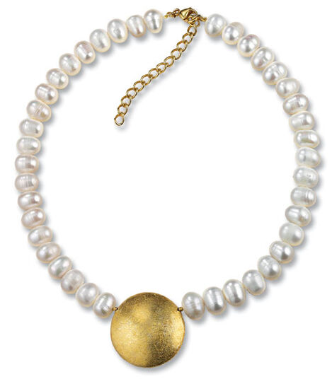 """Petra Waszak: Necklace """"Solar Disk"""" with cultured pearls"""