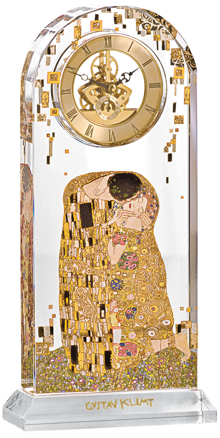 gustav klimt tischuhr der kuss mit golddekor ars mundi. Black Bedroom Furniture Sets. Home Design Ideas