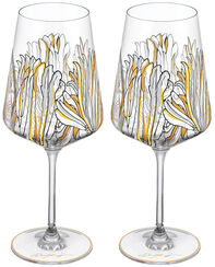 "2 Piece Set of White Wine Glasses ""My Charming Garden"""