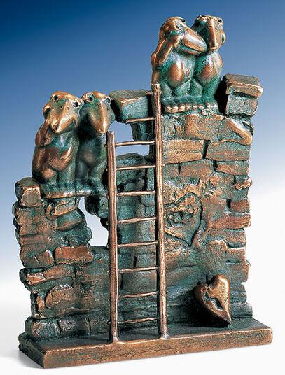 """Rainer Hercks: Skulptur """"Verliebte Mauersegler"""" (1999), Bronze"""