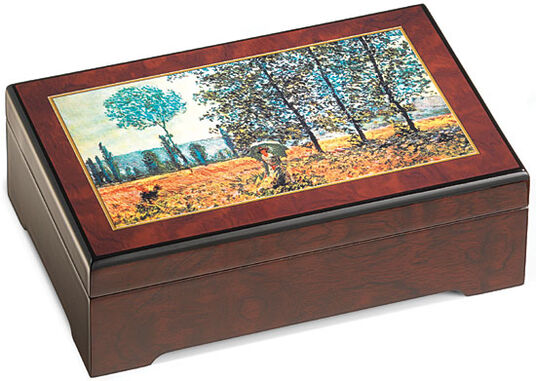 "Claude Monet: Musical jewelry box ""Field in Spring"" - after Claude Monet"