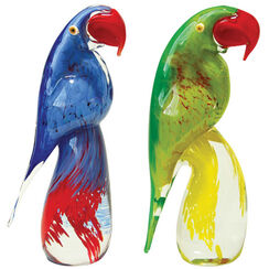 "Set of 2 ""Parrot I + II"" glass objects"