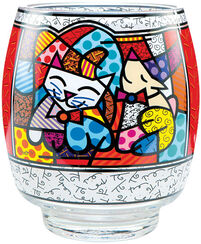 "Glass Lantern ""Happy Cat Snoop Dog"""