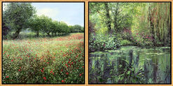 "2 Paintings ""Champ de coquelicots"" + ""Printemps à Giverny"" in a set"