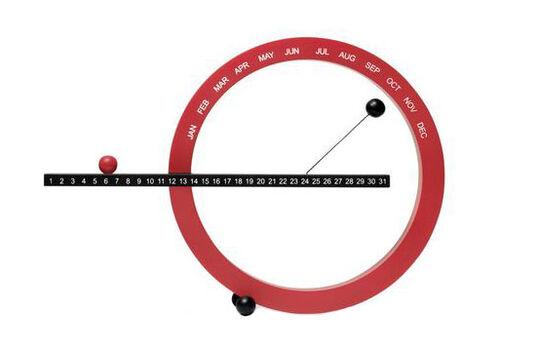 Ewiger Kalender (kleine Version, 14 x 20 cm, rot/schwarz)