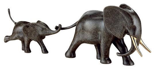 Loet Vanderveen: Sculpture 'Elephant with Baby', bronze