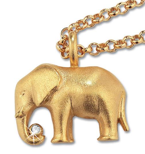 "Christiane Wendt: Necklace ""Luck Elephant"", gilded 925 Sterling silver"