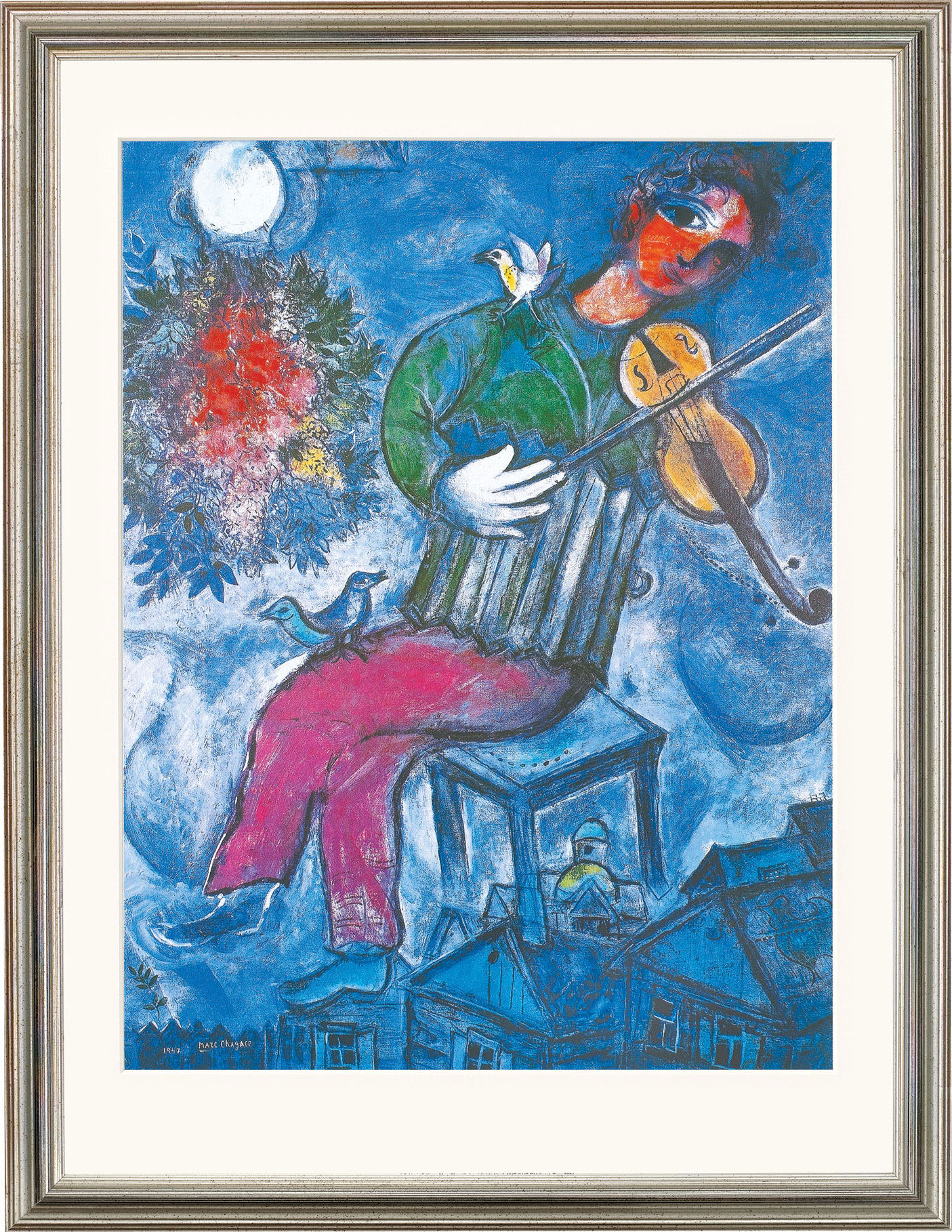 marc chagall bild le violoniste bleu 1947 gerahmt. Black Bedroom Furniture Sets. Home Design Ideas
