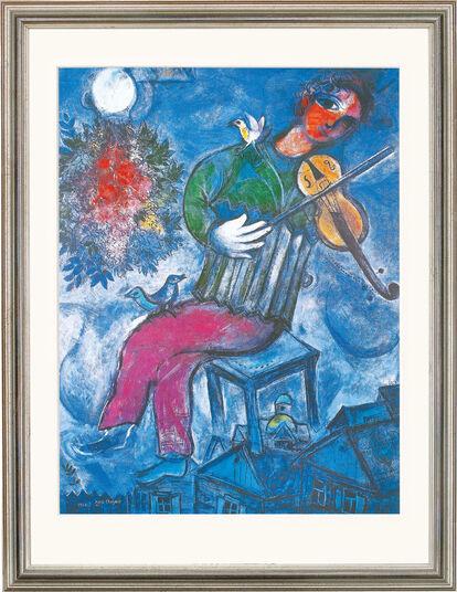 """Marc Chagall: Bild """"Le Violoniste Bleu"""" (1947), gerahmt"""