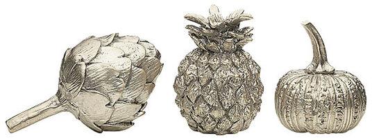 "Set of 3 decorative fruits ""Artichoke"" + ""Pumpkin"" + ""Pineapple"", silvered bronze edition"