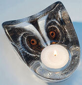 "Glass candleholder ""Owl"":"