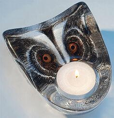 "Glass candleholder ""Owl"":"