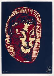 "Bild ""Mykenisches Lächeln 5 (blau-rot-ocker)"" (1986/2013)"