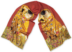 "Silk scarf ""The Kiss"", Red"