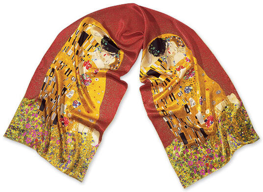 "Gustav Klimt: Silk scarf ""The Kiss"", Red"