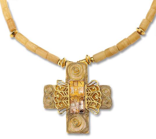 Petra Waszak: Gustav Klimt cross pendant 'Golden Adele'