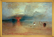 "Painting ""Beach of Calais"" (1830) in studio framing"