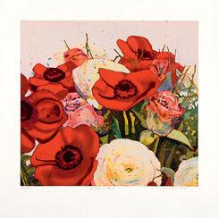 """Bild """"Blumen in rot"""", ungerahmt"""