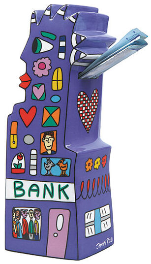 James Rizzi: Savings box 'My Pointy Piggy Bank', porcelain