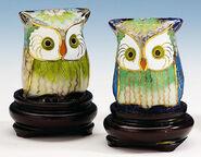 Cloisonné Owl Pair
