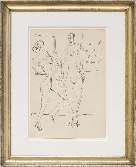 """Ernst Ludwig Kirchner: Bild """"Zwei tanzende weibliche Akte im Atelier"""" (1929-1938) (Unikat)"""