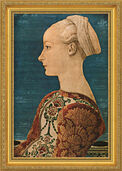 "Painting ""Young Woman in Profile I"" (1460), framed"