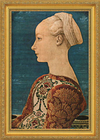 "Piero del Pollaiuolo: Painting ""Young Woman in Profile I"" (1460), framed"