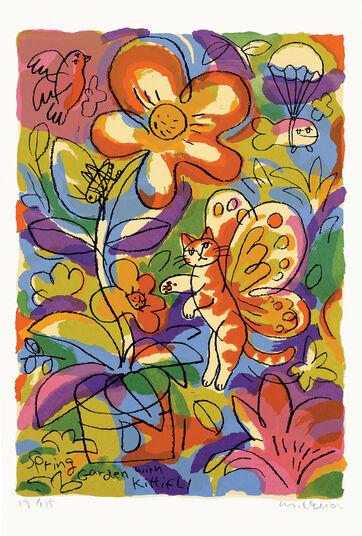 """Michael Leu: Bild """"Spring Garden with Kittifly"""" (2002), ungerahmt"""