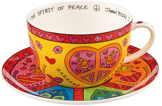 "James Rizzi: Cappuccinotasse ""The Sprit of Peace"", Porzellan"