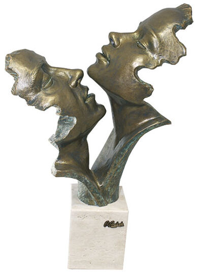 """Angeles Anglada: Skulptur """"Passion"""", Kunstguss Steinoptik"""