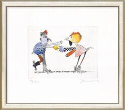 """Bild """"Zwei fahrbare Hühner, welche einander arglos begrüßen"""", gerahmt"""