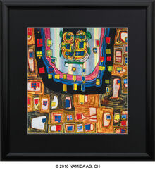 "Painting ""(886) The Birth of The Automobile"", Framed"