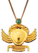"Ancient Egyptian zodiac sign of ""Cancer"" (22.6.-22.7.) Necklace with a lucky stone,"