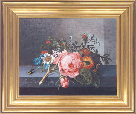 "Rachel Ruysch: Painting ""Rose twig with Ladybird and Bee"""