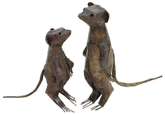 Luwagala: Two garden figures 'Big and Small Meerkat' in set