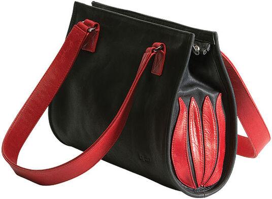 "Linde Van der Poel: Hand bag ""Black and Red Tulip"""