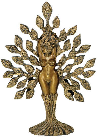 "Ernst Fuchs & Joseph F. Askew: Sculpture ""Tree of Life"", version in gold marble castings"