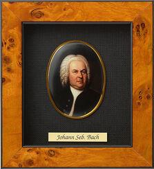 """Miniatur-Porzellanbild """"Johann Sebastian Bach"""" (1685-1750), gerahmt"""