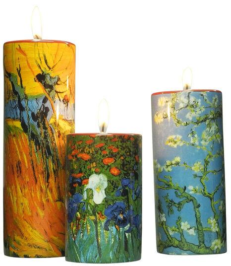 Vincent van Gogh: Drei Teelichthalter mit Künstlermotiven im Set, Porzellan