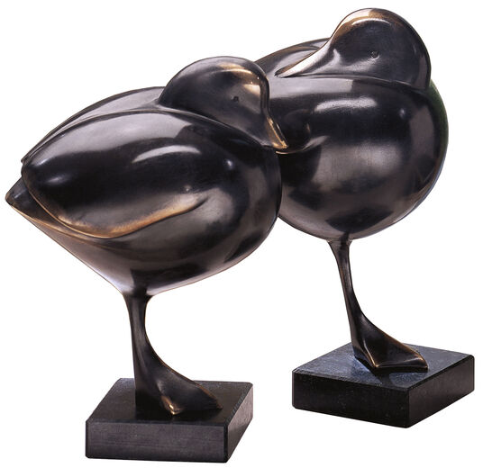 "Evert den Hartog: ""Duck II"" (Looking back), black patina"