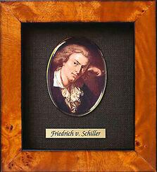 """Miniatur-Porzellanbild """"Friedrich Schiller"""" (1759-1805), gerahmt"""