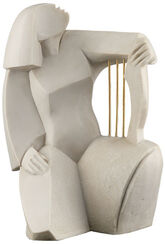 "Skulptur ""Harfenspielerin"", Steinguss"