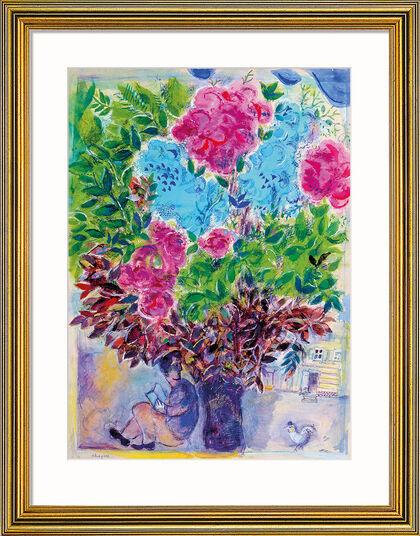 """Marc Chagall: Bild """"Der Wartende unter dem Blumenstrauß"""", Version goldfarben gerahmt"""