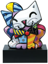 """Porcelain sculpture """"Blue Cat"""", hand-painted"""