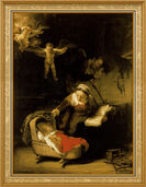 "Painting ""The Holy Family"" (1645) in classic frame"