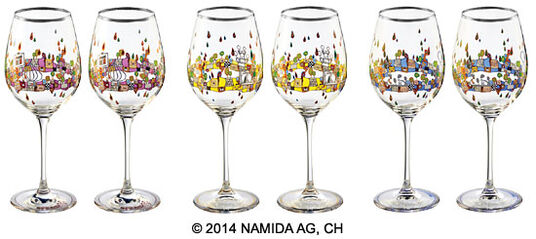 "Six-piece set of wine glasses ""BEAUTY IS A PANACEA - Platinum - white wine"""