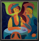 "Picture ""Two ladies at the Café"" (1927) in frame"