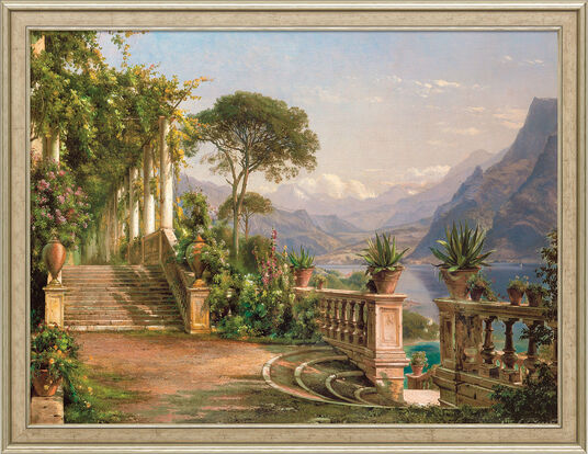 "Carl Frederic Aagaard: Picture ""Lodge on Lake Como"" in frame"