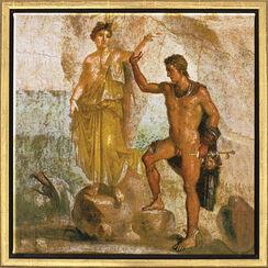 "Wandmalerei aus Pompeji: Bild ""Perseus und Andromeda"", gerahmt"